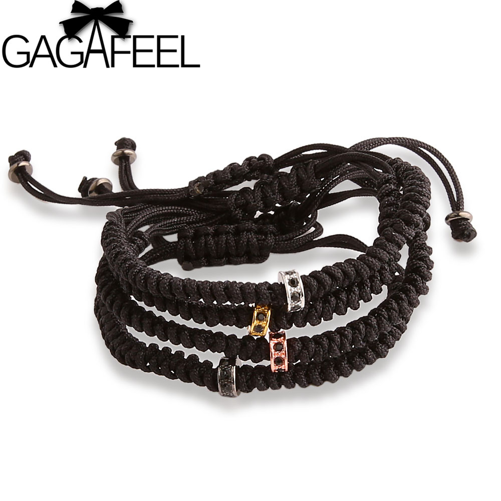 GAGAFEEL Men Bracelets One Micro Pave Black CZ Beads Adjustable European Style Beads Bracelet Bangle Free shipping(China (Mainland))