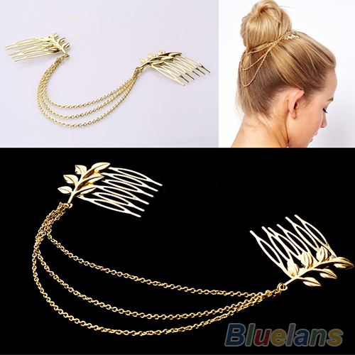 Womens Personality Chic Gold Tone Leaf Hair Cuff Chain Comb Headband Hair Piece Одежда и ак�е��уары<br><br><br>Aliexpress