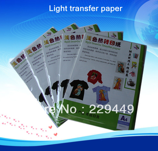 Wholesale Heat Transfers 50pcsXA4 Light Inkjet Heat Transfer Paper For T shirt Fabric Thermal Transfer Paper With heat Press(China (Mainland))