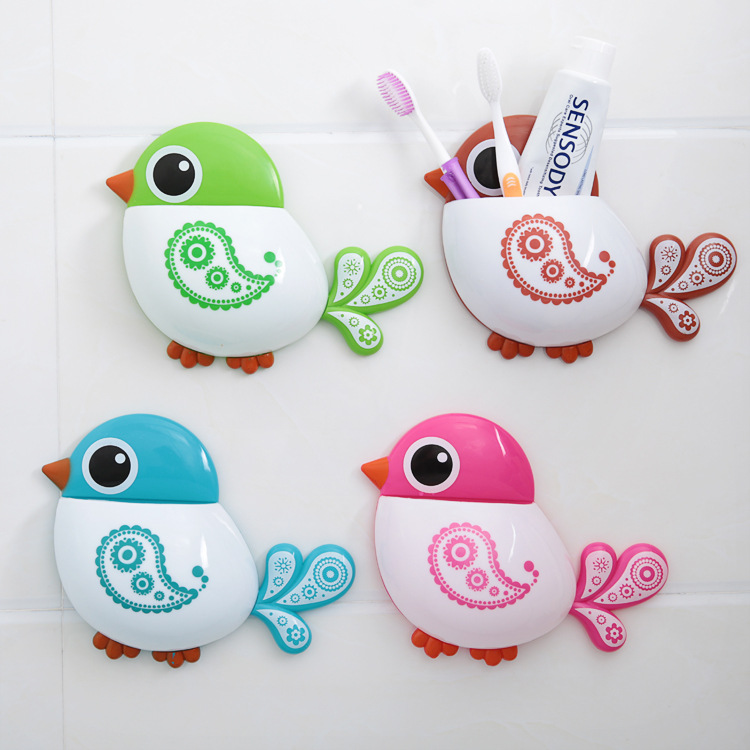 Creative Bird Suction Cup Toothbrush Holder Home Decoration Comestic Tooth Paste Storage Organizer Kids Bathroom Accessories Set(China (Mainland))