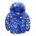 2016 New Boys Outerwear Coats Kids Printing Dinosaur Thick Down Parkas Handsome Casual Thermal Children Clothes