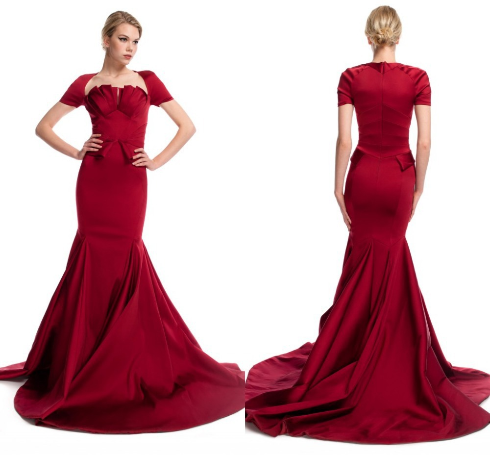Hotelegant Red Mermaid Bridal Gown Court Train Wedding