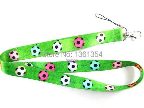 NeW 20 pcs Green Color Football Logo neck Lanyard Cell Phone PDA ID Key Holder long strap(China (Mainland))