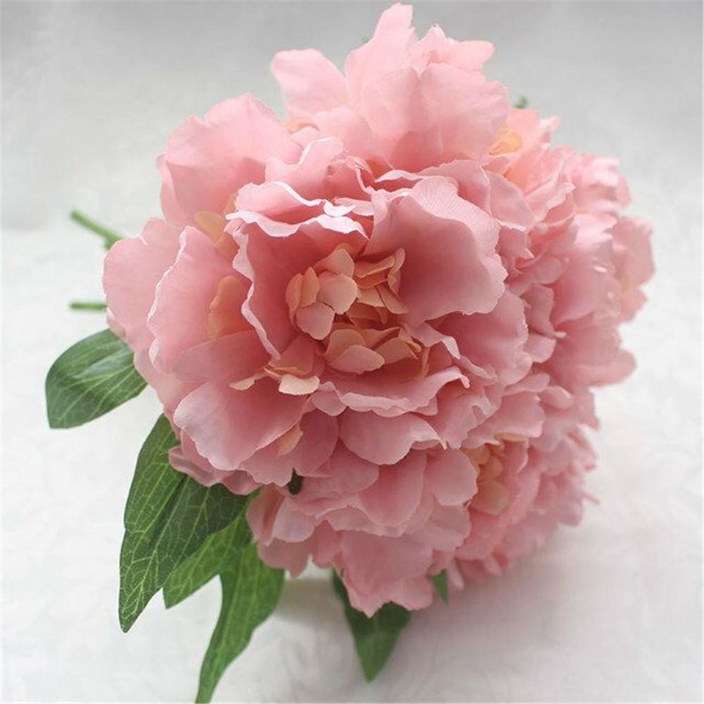 Wedding Decor 5 head DIY Rose Floral 1 Bouquet Artificial Silk Peony Flower Arrangement Room Hydrangea real touch flower bouquet(China (Mainland))
