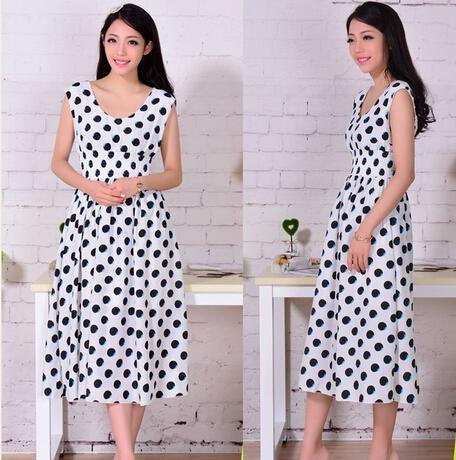 Long Dress 2015 Summer Dot Print Slim Fashion Dresses Female Elegant Woman Clothes Evening Party - SOOSHOW store