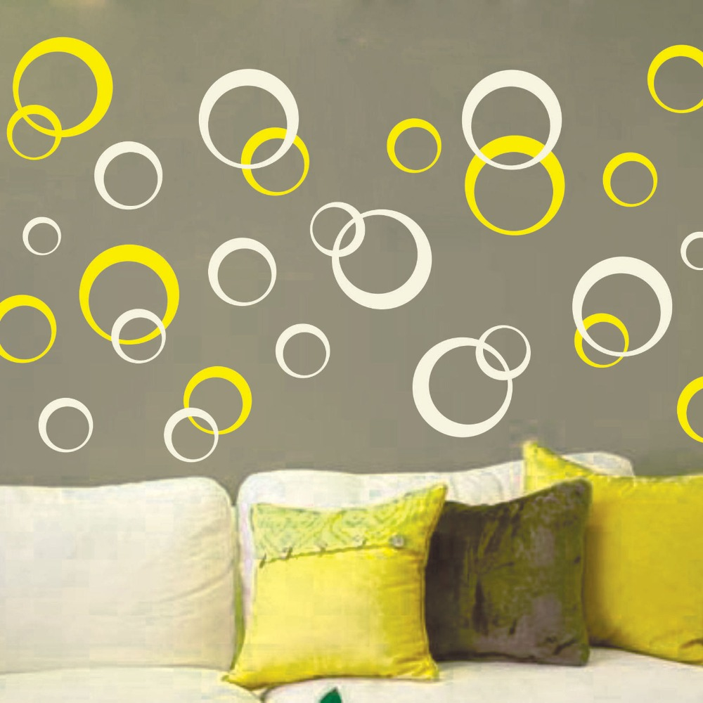 Fashion 2 color beautiful CIRCLES Polka Dots Vinyl Wall Decor Mural Home Decor Art Cut Wall Stickers KW-301(China (Mainland))