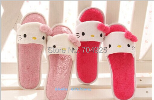 Super Kawaii Slippers - Hello Kitty Summer Plush Air Conditioner ROOM Indoor Slippers Sandals Indoor Shoes - Standard Size(China (Mainland))