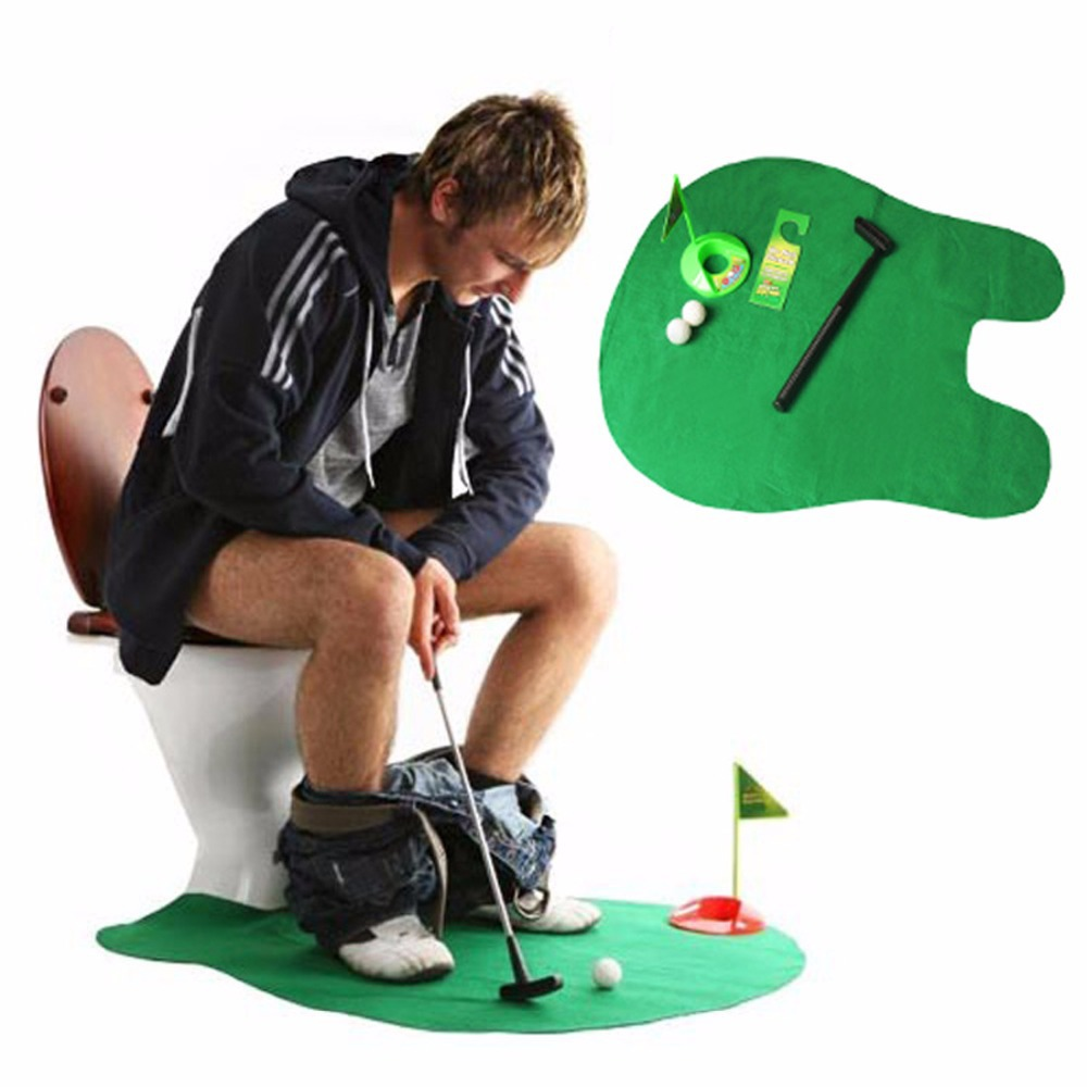 2015 WC Golf 1Set Potty Putter Toilet Golf Game Mini Golf Set Toilet Golf Putting Practical Jokes Toys WC-01(China (Mainland))