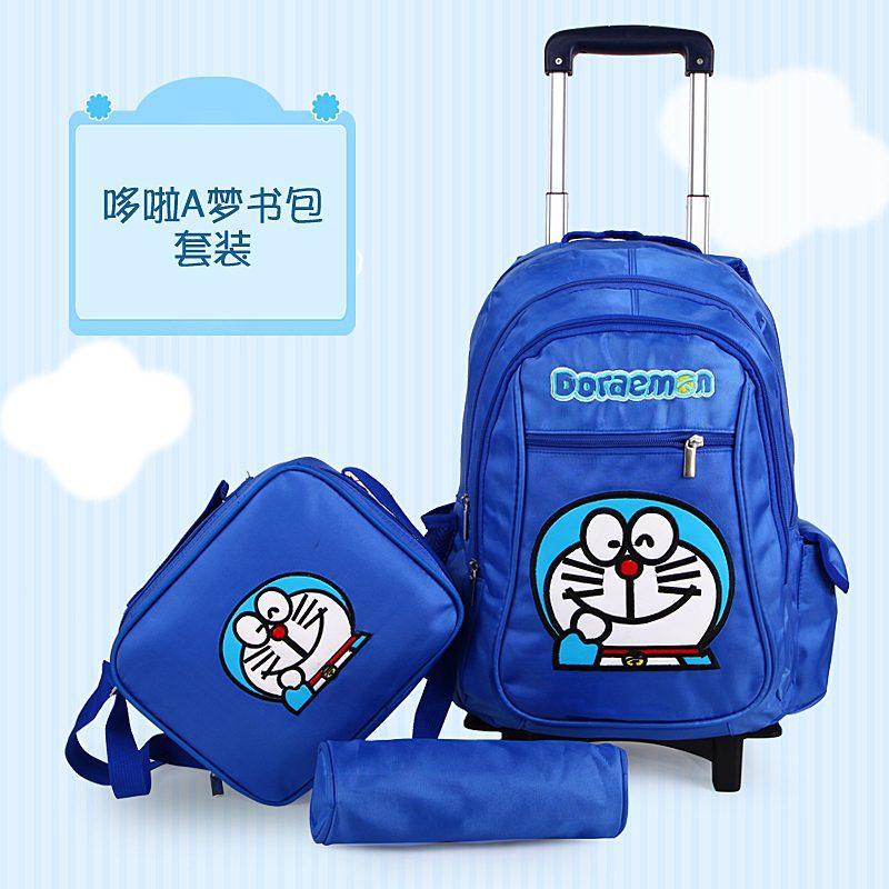 Hello Kitty Doraemon Trolley School Bag Set Lunch Box Pencil Children Backpacks Wheels Rolling Bags Mochila Infantil