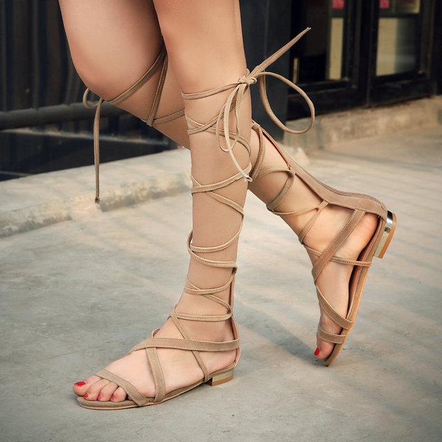 Большой размер сексуальный стильный лодыжки ремень сандалии женщина замши гладиатор ...
