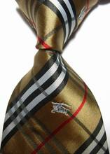 Designer Brand New Classic Striped Tie Red Blue Black Silver Gray Gold Plaid Jacquard Woven 100% Silk Fashion Men's Tie Necktie(China (Mainland))