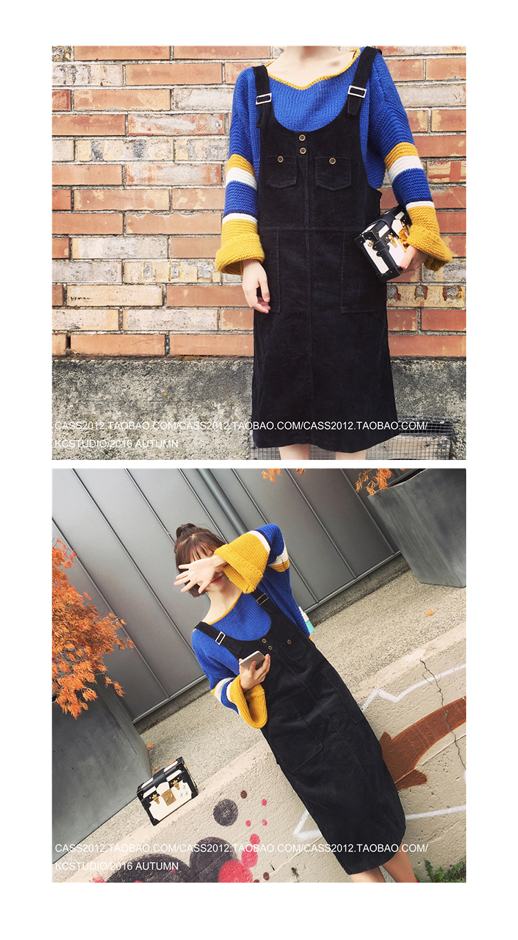 [XITAO] 2016 Women's autumn black corduroy shoulder-straps dress female straight solid color sleevesless O-Neck dress KC001