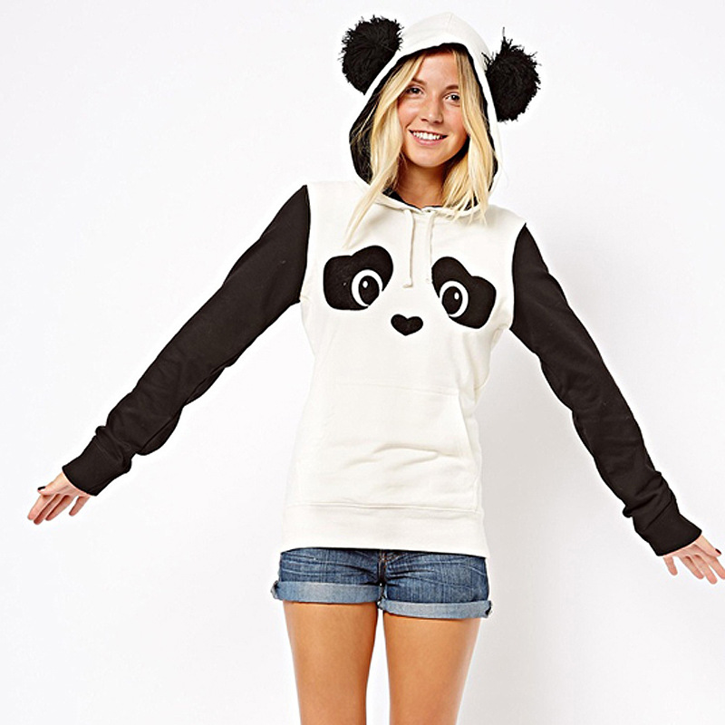 2016 Hot Sale Hoodies Women Winter Autumn White Sweatshirt Loose Casual Panda Printed Lovely Long Sleeve Sudaderas Mujer(China (Mainland))