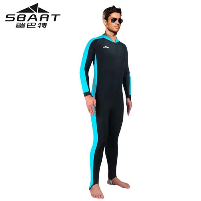 Brand Sbart  one piece long sleeve diving wetsuit for surfing sunscreen chinlon neoprene men body slim swimwear size for S-4XL