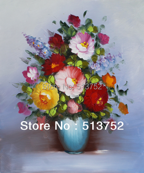Oil Painting Vase Furniture Accessories Maison Modern Art Drawing Red Flower Rose