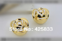 Single 24k Golden Rose Flower Cartoon Pulls Antique Brass Plating Cabinet Pull Furniture Knob Drawer Handle Dresser Handles