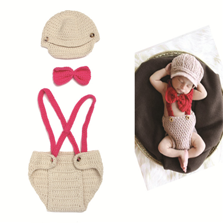 Crochet Aviator Hat & Diaper cover Bow Tie Set clothes Newborn Baby Photo Prop Clothes Christmas photos - Ada commodity store
