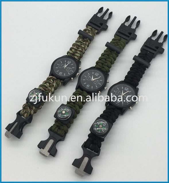 Пользовательские выживание часы браслет с компасом флинт стартера Paracord браслет ...