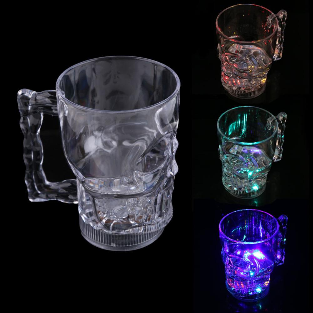 New Water Inductive Glowing Wine Beer Cola Cup Mug LED Glowing Skull Shape hv5n