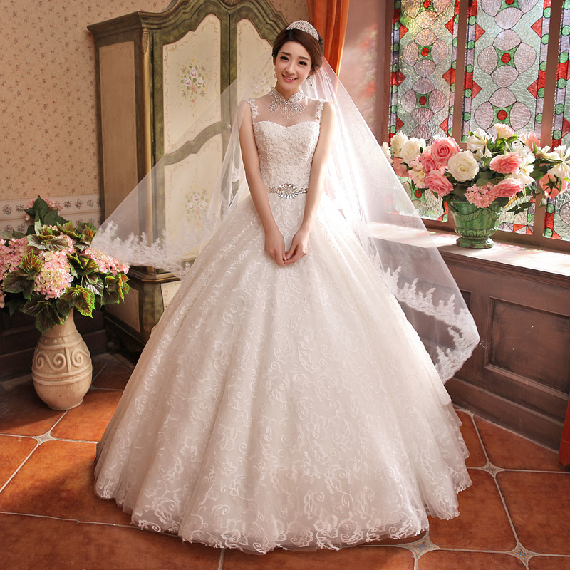 New arrival 2015 Hot sale princess white lace vintage spring summer and autumn wedding dress Freeshipping(China (Mainland))