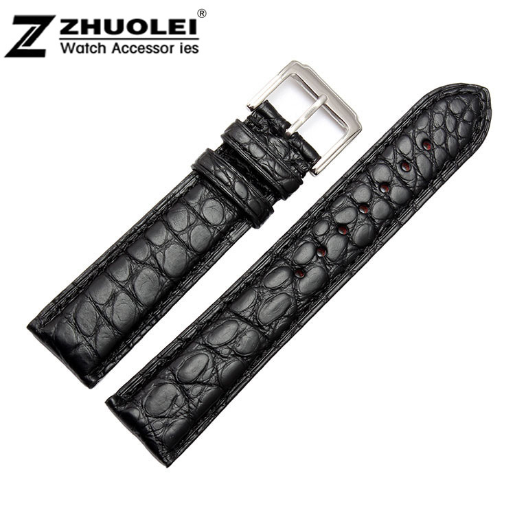 18mm 19mm 20mm 21mm 22mm 24mm Size Available Black/Brown Genuine Alligator Leather Watch Strap Band Writwatch Buckle<br><br>Aliexpress