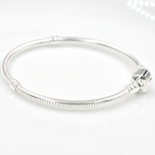 100% Authentic 925 Sterling Silver Charms Bracelet with Snake Chain Fits Pandora Charms Bracelet DIY Fashion Women Jewelry(China (Mainland))