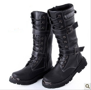 Fashion men boots high leather male work gz botas military shoes PU - EmmaFashion FUnShop store