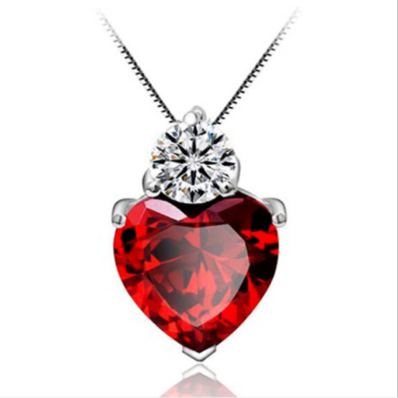 4 Colors Charms Zircon Heart love Women Pendant for jewelry making pendulum 925 Silver necklace accessories XL1502(China (Mainland))