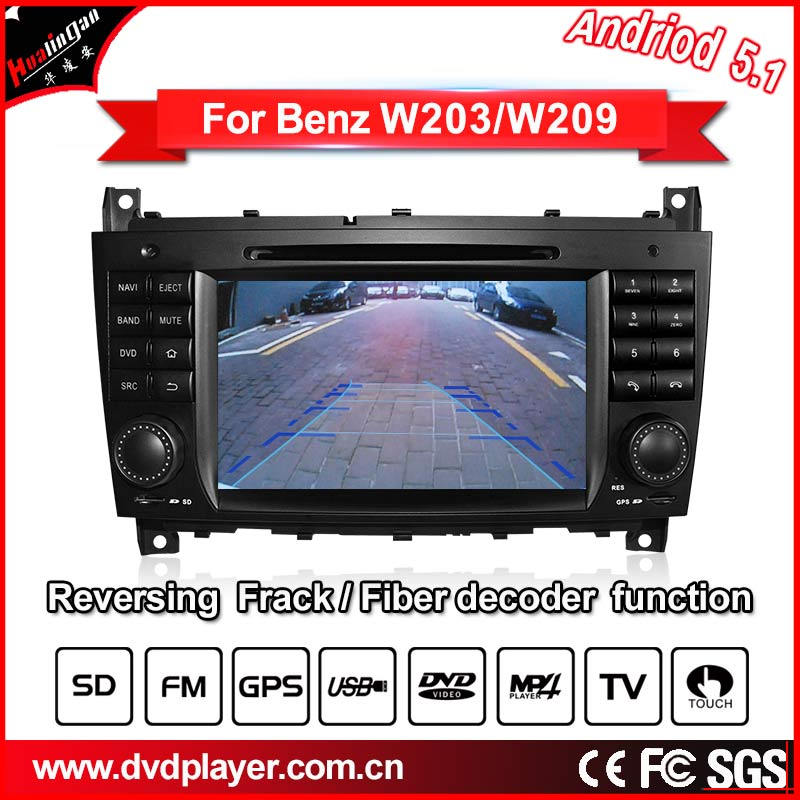 Car DVD navigation Android 5.1 for Benz c w203 bnez clk w209 Quad Core Cortex A9 3G/car audio gps with Reversing Track function(China (Mainland))