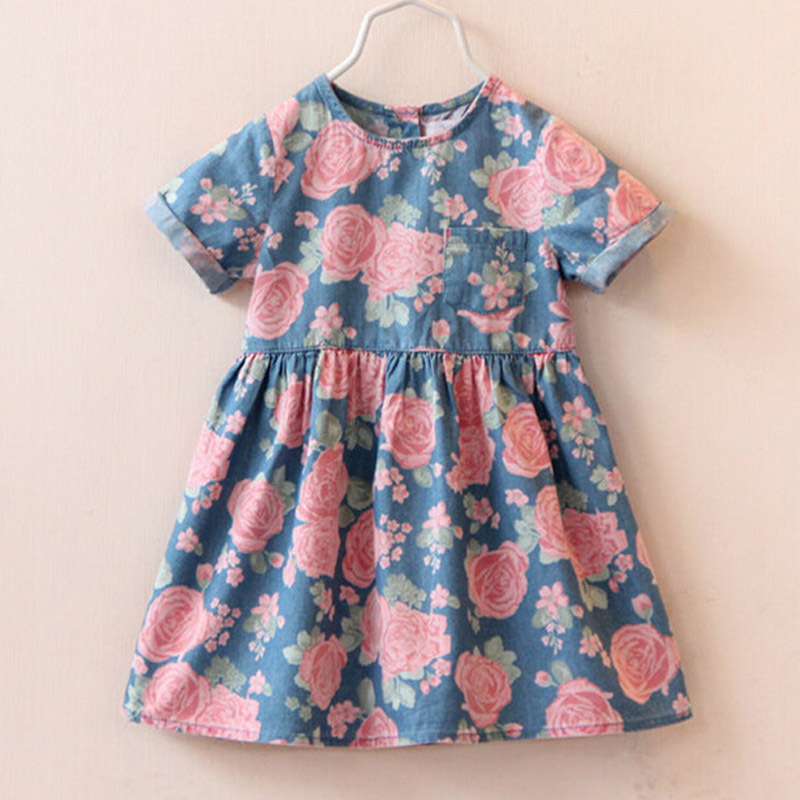 2015 High hot sell fashion dress baby girl cute denim dresses kids casual clothing summer short sleeve print child vestidos(China (Mainland))