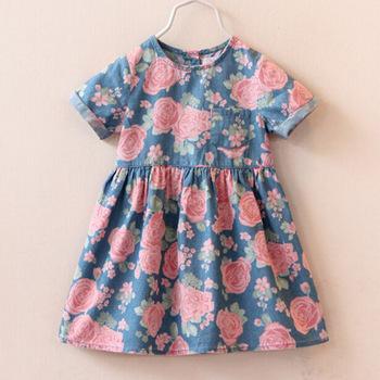 2016 High hot sell fashion dress baby girl cute denim dresses kids casual clothing summer short sleeve print child vestidos