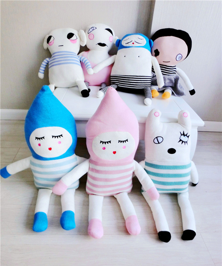 Kawaii children toys for girls 9 pieces lucky boy sunday dolls stuffed & plush toys cute baby knitted denmark doll free shipping(China (Mainland))
