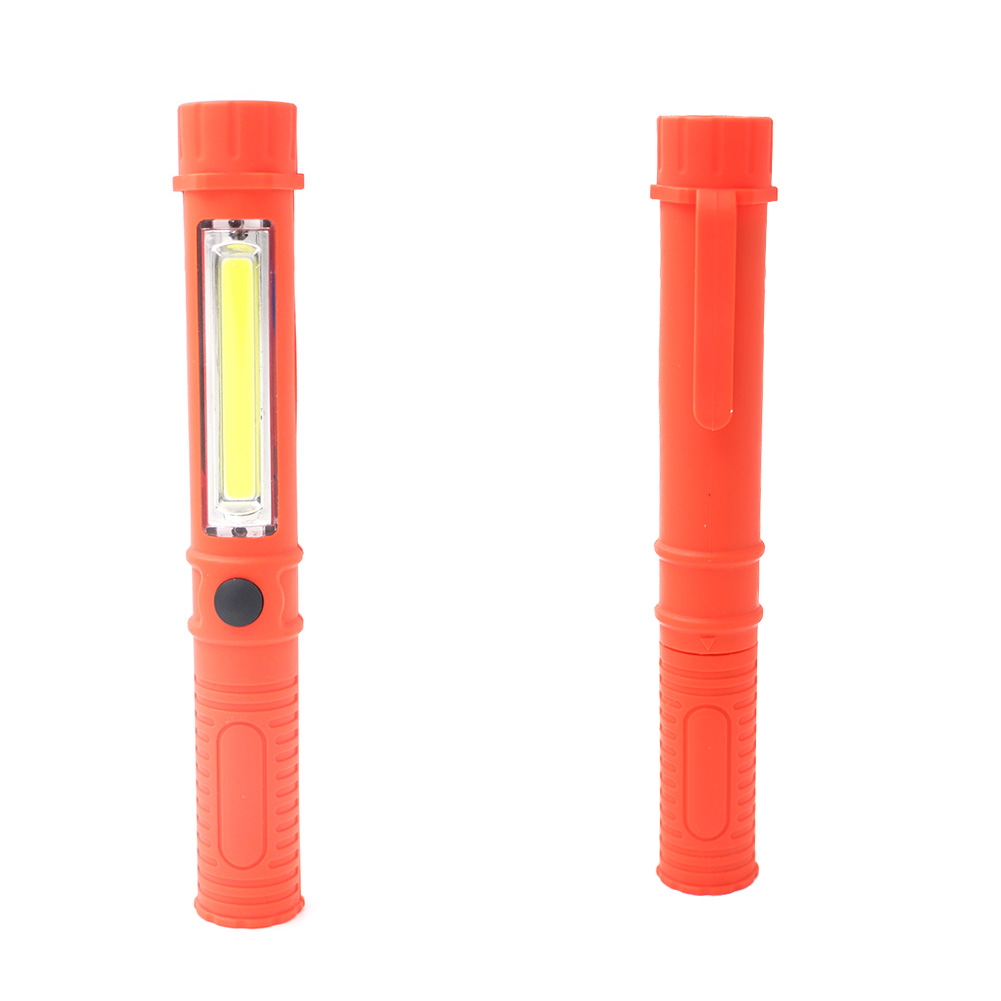 COB LED Mini Pen Shape Bright Inspection Light Lamp Pocket Camping Torch Flashlight with Clip work Torch Flashlight led light