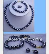 Wholesale price FREE SHIPPING ^^^^ huge 9-10MM Real BLACK south sea Pearl Necklace Bracelet Earring Set 14k(China (Mainland))