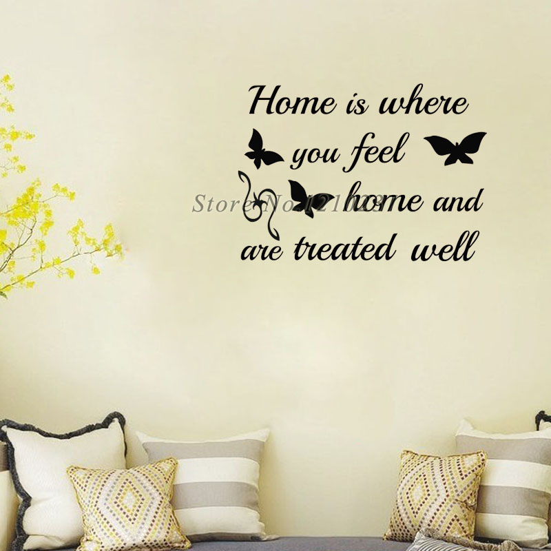 Butterflies Wall Stickers Home Is Where You Feel Home Sayings Creative Design Vinyl Wall Decals Self Adhesive Paper(China (Mainland))