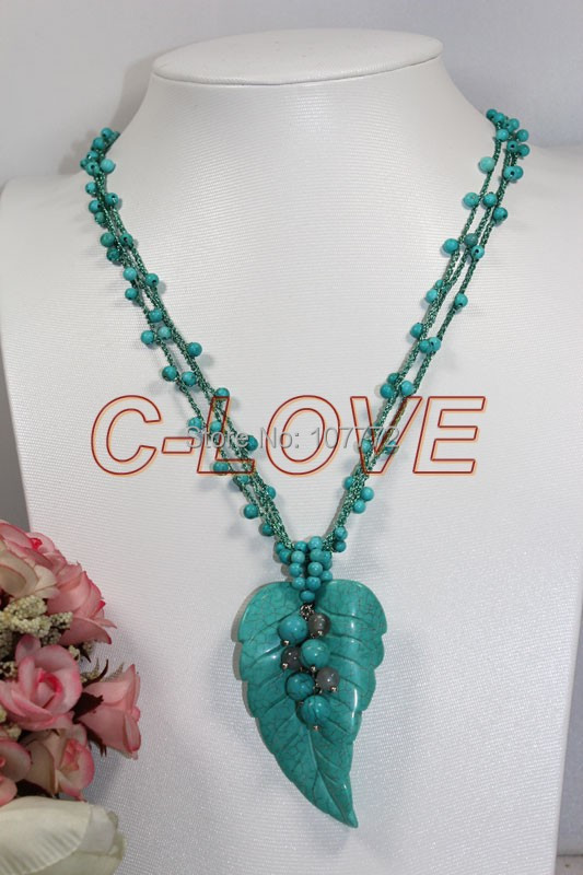 Excellent !!Turquoise &Turquoise Leaf Necklace +free shippment(China (Mainland))