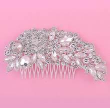 JaneVini יוקרה חתונת קריסטל שיער קומבס עבור כלות ריינסטון נשים כלה סיכות כיסוי ראש שיער תכשיטי אביזרי פנינה(China)