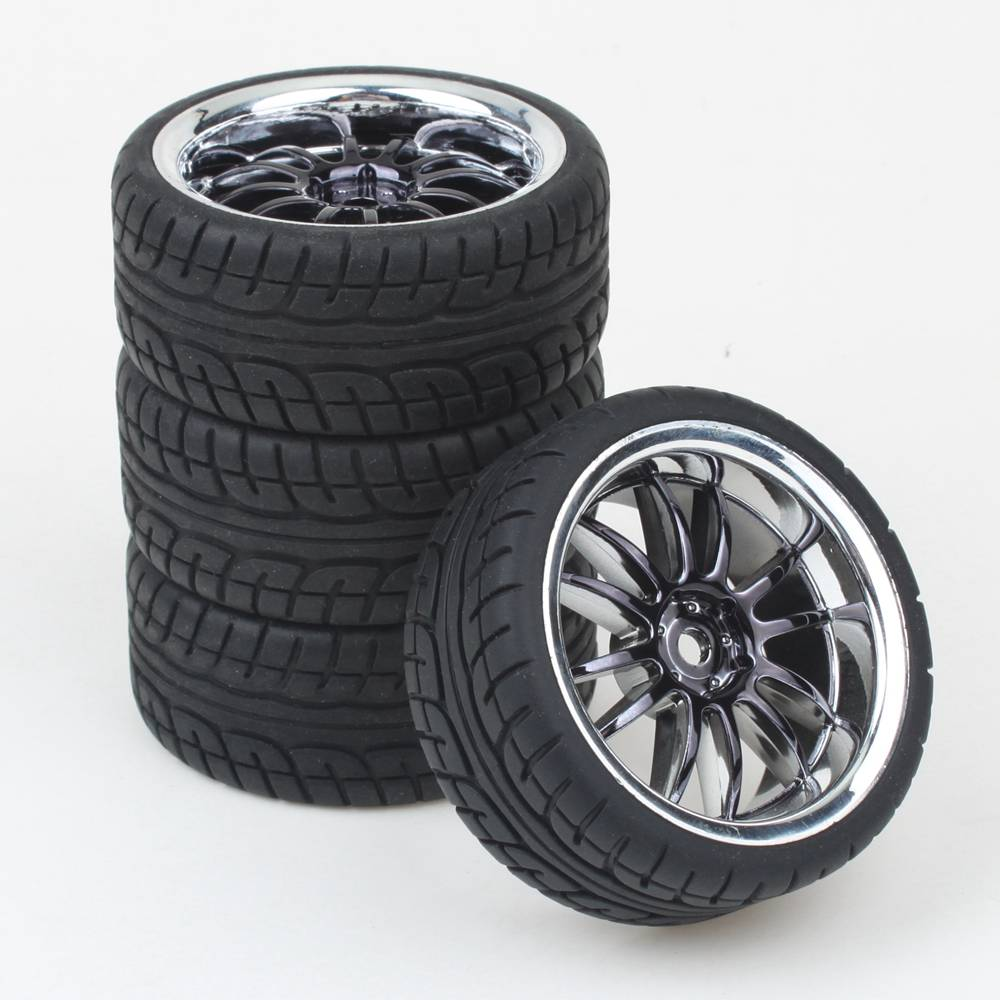 4PCS RC 1/10 Car On Road Wheel Rim Rubber Tyre Tires Fit HSP HPI 9068-6081 Free Shipping(China (Mainland))