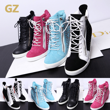 Free Shipping 2013 GZ Sneakers fpr Women Wedge Shoe Height Increased Fashion Boots Genuine Leather Tassels Isabel Marant