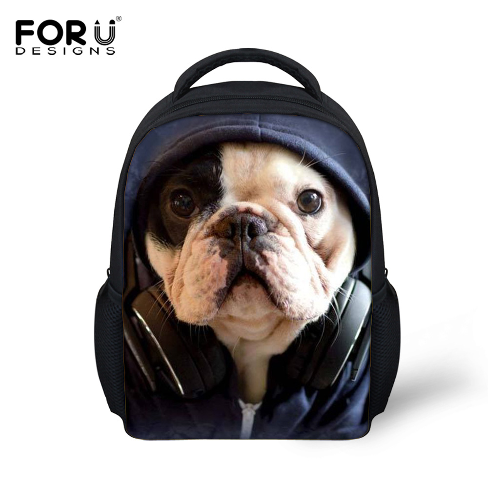 2016 Trendy Small Children School Bags for Girls Boys 3D Animals Horse Bookbags Cute Pet Dog Pug Bulldog Printing Kids Schoolbag(China (Mainland))