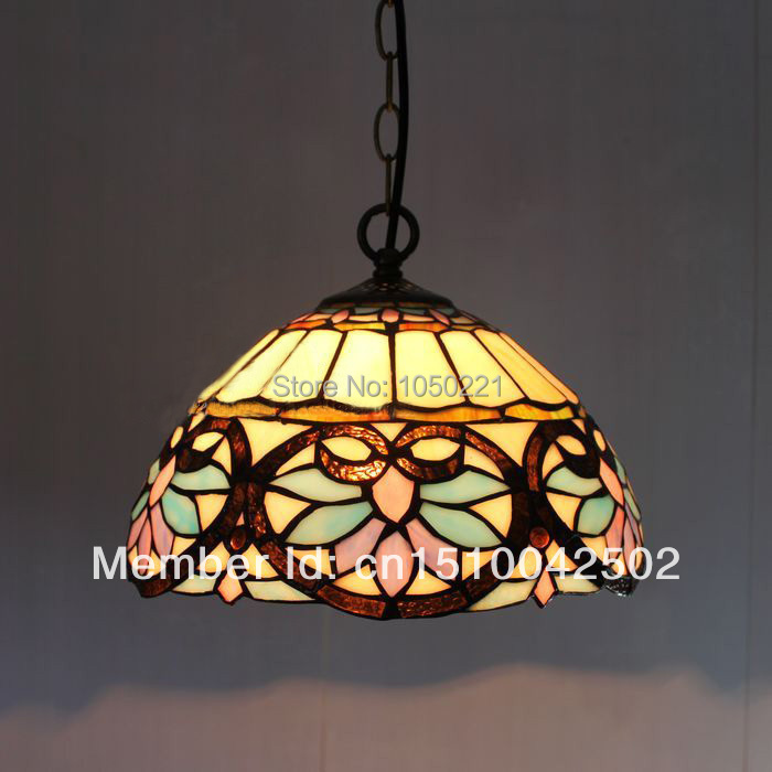Tiffany Baroque Glass Pendant Lamp European Style Pastoral Bar Coffee Shop Light Dia 30cm H 95cm(China (Mainland))