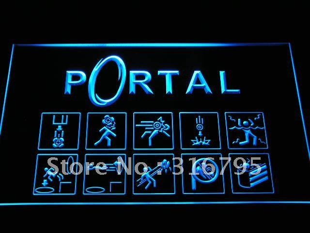 e068-b Portal Game Logo LED Neon Light SignWholesale Dropshipping On/ Off Switch 7 colors DHL
