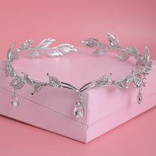 Crystal Crown Bridal Hair Accessory Wedding Rhinestone Waterdrop Leaf Tiara Crown Headband Frontlet Bridesmaid Hair Jewelry