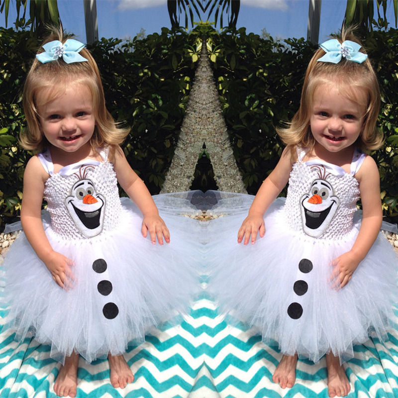 2016 Cartoon Snowman Olaf Costume Girls Baby Tulle Fancy Gown Princess Tutu Dresses 2-7Y(China (Mainland))