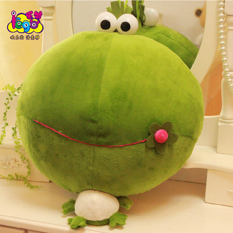 1pcs 50cm Mung bean frog plush toy frog Cushion green frog pillow Dolls free shipping(China (Mainland))