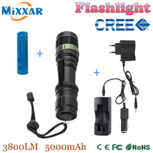 XM-L Q5 LED Flashlight Torch 3800 Lumen Zoomable Lamp Light Black led torch high light with battery and charger+car charger(China (Mainland))