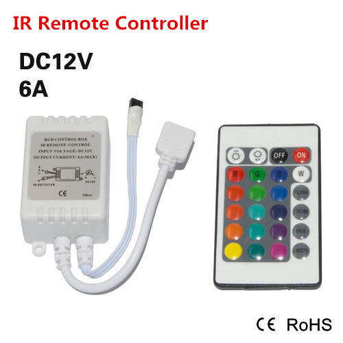 Led Strip Light Mini IR Remote Controller DC 12V For RGB SMD 5050 3014 3528 Fita Led String Ribbon Tape Wireless 24 Keys(China (Mainland))