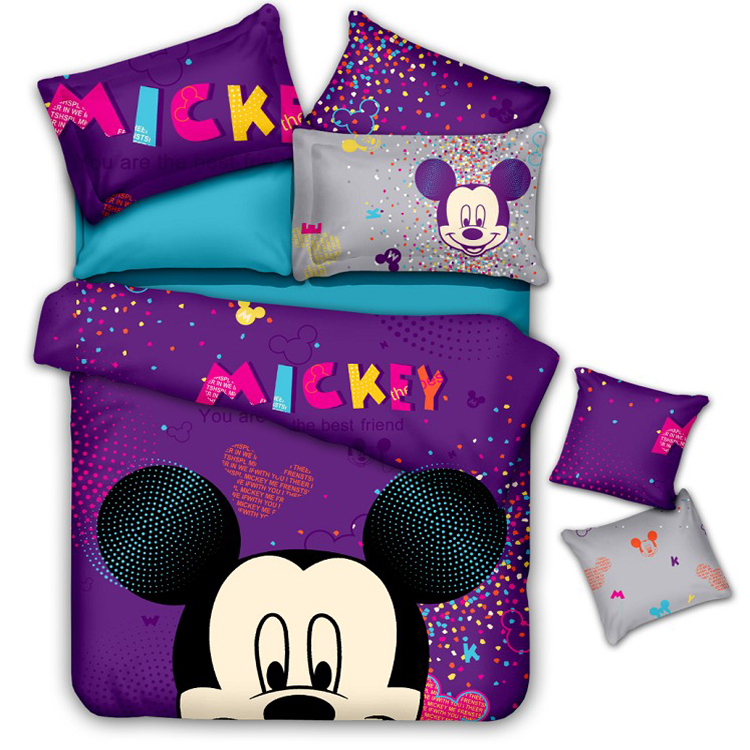 5pc 3d Mickey Mouse Minnie Queen Size Purple Bedding Sets