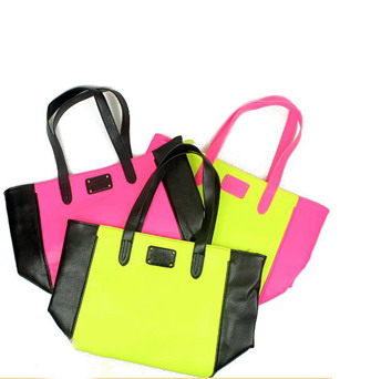 H1495 MM Cute Sweet pastels Mango Neon Fluorescence color Bicolor Tote Bag Shoulder Bag Free shipping wholesale drop shipping(China (Mainland))
