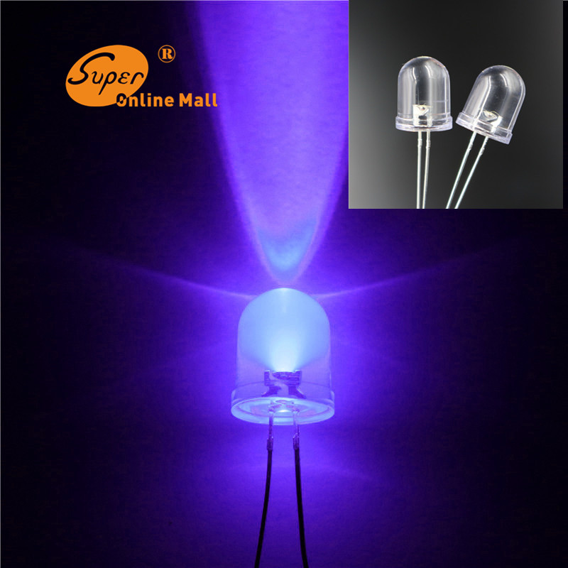 50 pcs/Lot 10mm Led DIODE Uv/Purple Color Emitting Diodes Light LEDs Lamp Light 10MM Water Clear Diodes Ultra Bright(China (Mainland))